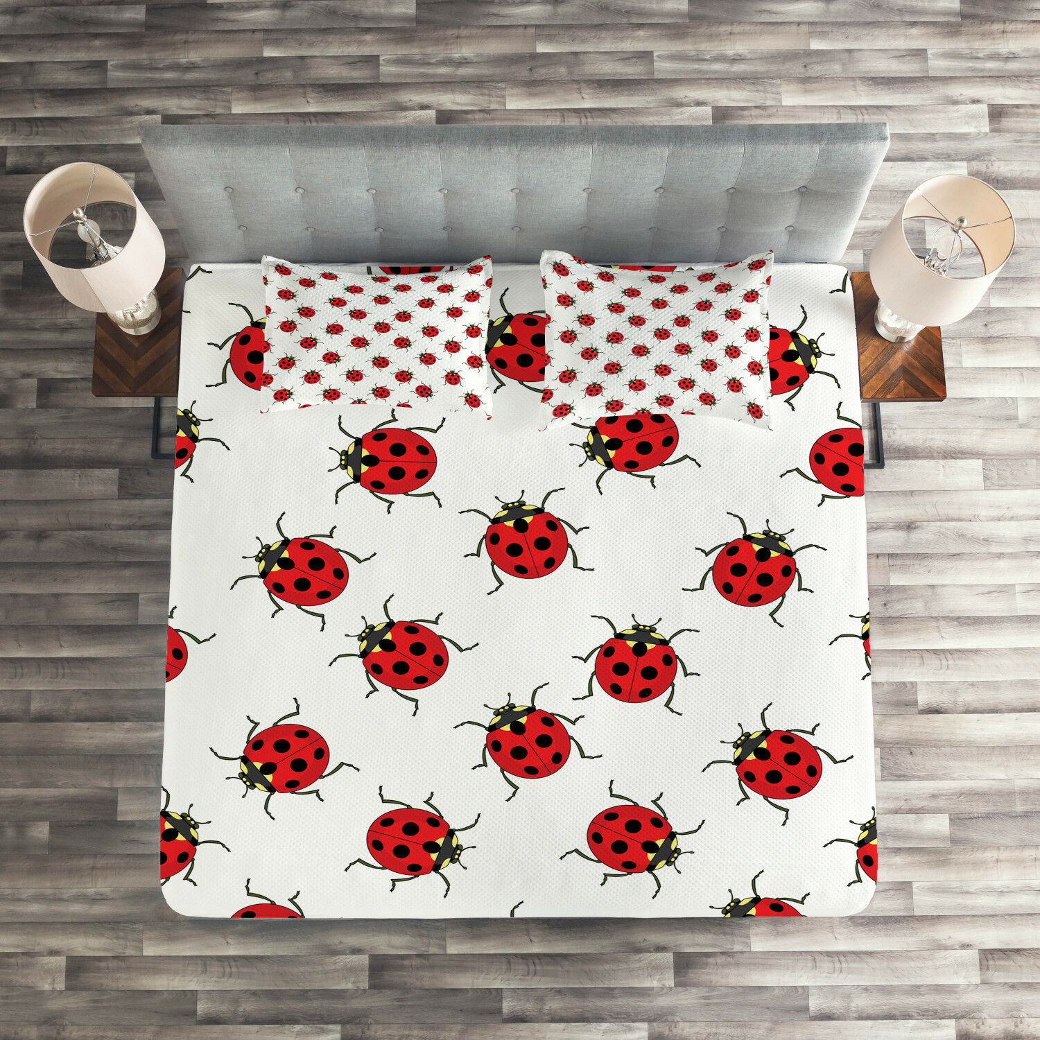 Kids Quilted Coverlet & Pillow Shams Set, Cute Ladybugs Patterns Print