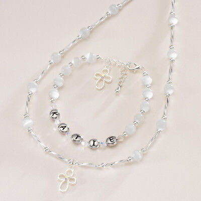 Personalised  necklace jewellery girls first holy communion cross gift present