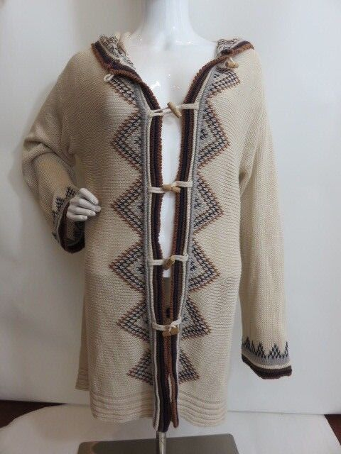 CALYPSO St. Barth Beige Knit Cardigan Hooded Size Small