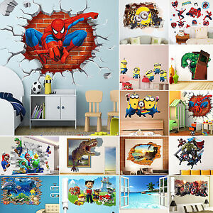 3d wandtattoo wandsticker wandbild wandaufkleber kinderzimmer sticker raumdekor ebay. Black Bedroom Furniture Sets. Home Design Ideas