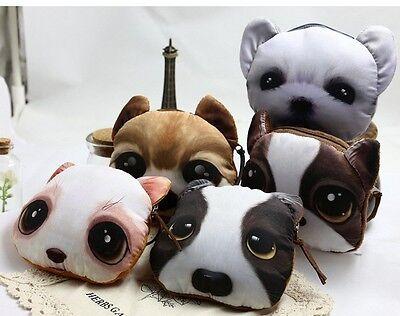 US Puppy Dog Face Mini Zipper Coin Change Purse Hand Wallet bag Kawaii Cute Soft