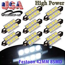 8Pcs White 42MM 5050 8SMD Festoon Dome Map Interior LED Light Bulb 211-2 578