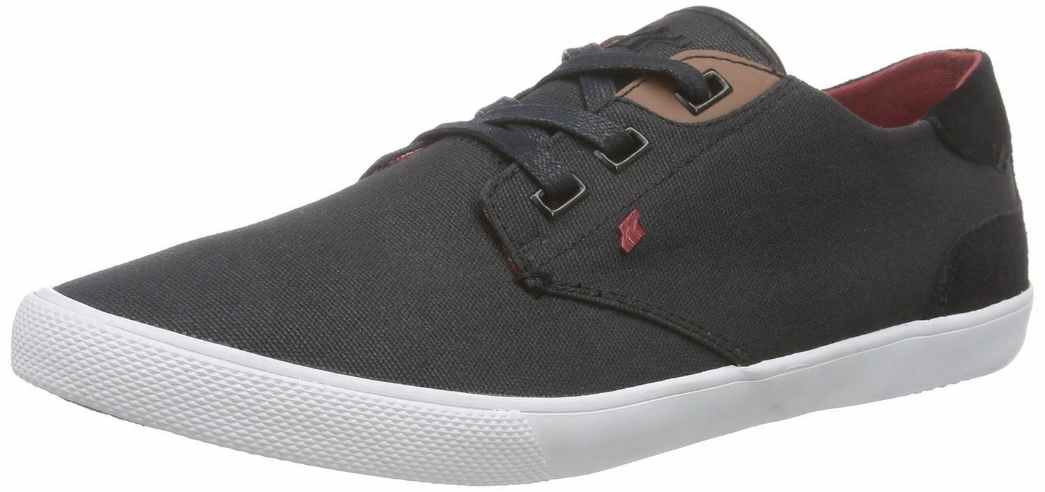 Boxfresh Stern Black Red Waxed Canvas Mens Trainers Shoes