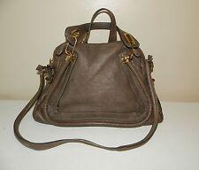 $1895.00 Authentic CHLOE Medium Paraty Greige Leather Shoulder Bag Purse