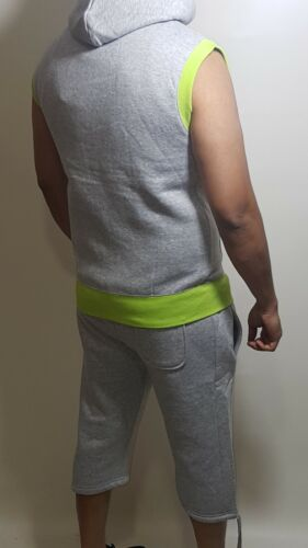 MENS HOODIE /& SHORT TRACKSUIT SET SLEEVELESS ZIPPER POCKETS CASUAL TOPS S TO XL