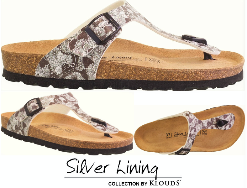 Cork footbed sandals Klouds Silver lining shoes  pinks - Made in Spain - Parsel