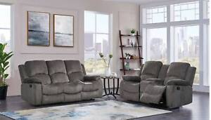 3118 Mocha Chenille Fabric Reclining Sofa And Loveseat Living Room