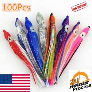 100 Soft Octopus Squid Skirt Trolling Jig  Fishing Lure Snapper Salmon Tuna 15cm  the cheapest