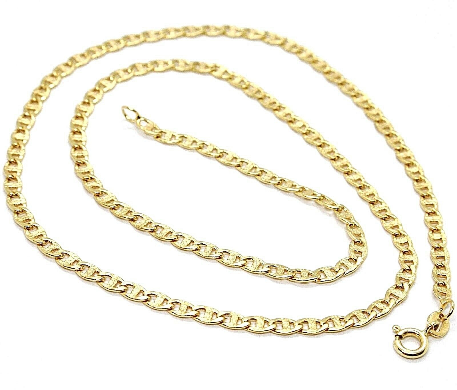 18K YELLOW gold CHAIN FLAT NAVY MARINER WORKED LINK 3.5 MM, 20 INCHES ITALY MADE