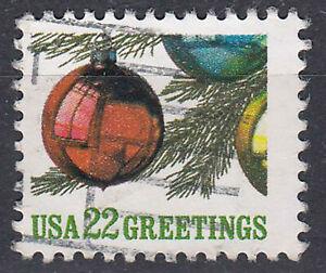 USA-Briefmarke-gestempelt-22c-Greetings-Weihnachtskugel-am-Weihnachtsbaum-489
