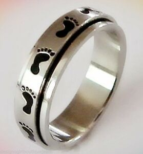 Footprints-Stainless-Steel-Spinner-Ring-Black-Enamel-Footprint-Silver-Size-6-9