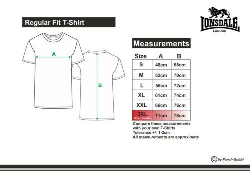 Lonsdale London Heren Kurzarm T-Shirt Glasgow Schwarz Boxen Fitness Sportshirt