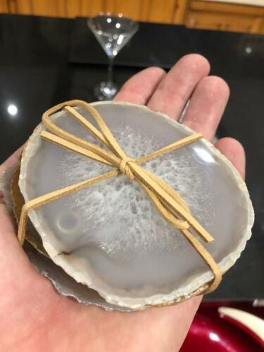 Grey Agate Microcrystalline Quartz Premium Coasters set of 4 Gift