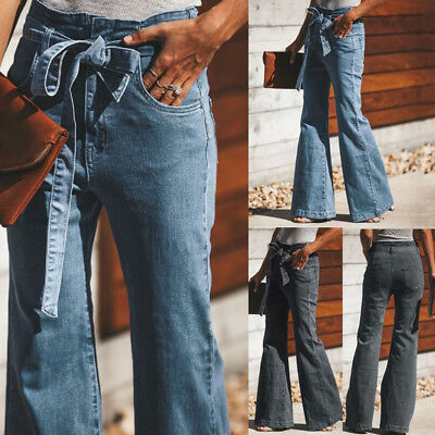 Denim Casual Boot Cut Pant Women Embroidery Print Jeans Summer Elastic Plus Size Loose Trousers