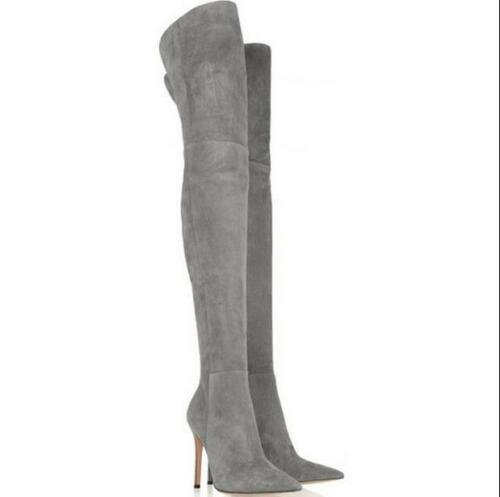 Womens Suede High Heel Stiletto Over Knee Boots Pointed Toe Pull On Casual Shoes