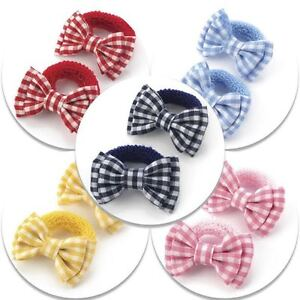 2x-GINGHAM-HAIR-BOWS-GIRLS-HAIR-BOBBLES-TODDLER-PONIO-SCHOOL-HAIR-ELASTIC-BANDS