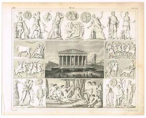 ANTIQUE PRINT VINTAGE 1851 ENGRAVING RELIGION GREEK FESTIVAL MYTHOLOGICAL WEAR