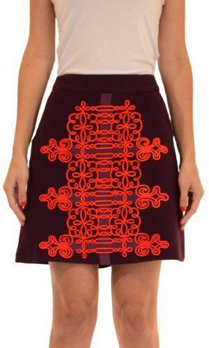 298 Nanette Lepore Karma Embroiderot lila Skirt- Größe 2