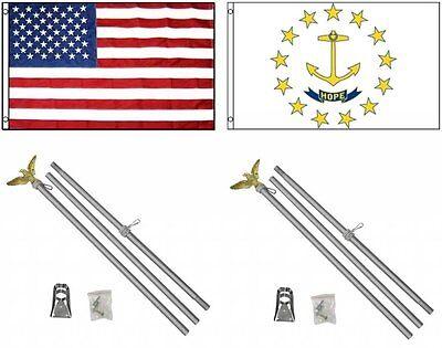 USA Rhode Island Banner amerikanische Fahnen Flaggen 30x45cm