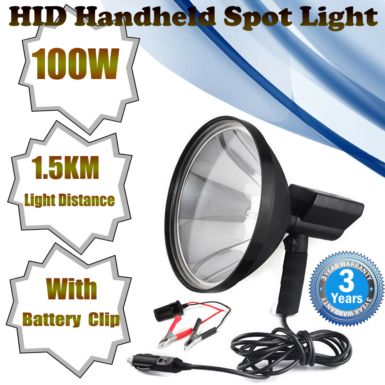 9'' 12V 100W Hunting Lamp 1.5 Mile Shooting Hand Held Foxing Torch Spot Light