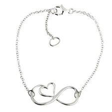 Infinity Bracelet - 925 Sterling Silver - Infinity Sign with Heart Bracelet NEW