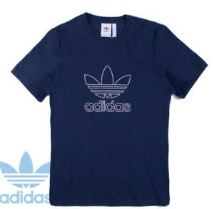 Adidas Original Mens Navy Outline T-Shirt Short Sleeveless Crew Size S to XXL
