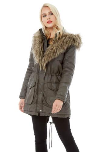 Fur Coat Kvinder vokset Faux Collar Roman Khaki Originals 7wpaIqwxY