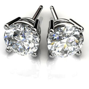 3-00-Ct-VVS1-Round-Cut-Solitaire-Diamond-Earring-Stud-14K-Solid-White-Gold-Studs