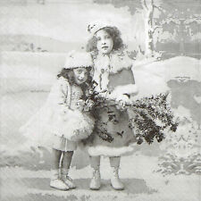 4x mesa única de Papel Fiesta Servilletas Para Decoupage Vintage dos chicas Invierno Navidad