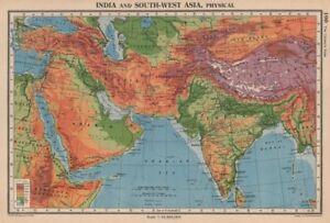 Southern Railway Map Of India.South South West Asia Physical Main Railways Bartholomew 1944