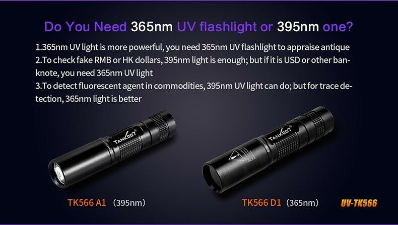 1W 395nm or 3W 365nm UV flashlight TANK007 for TK566-A1 or TK566-D1 for TANK007 Amber  tests 82a627