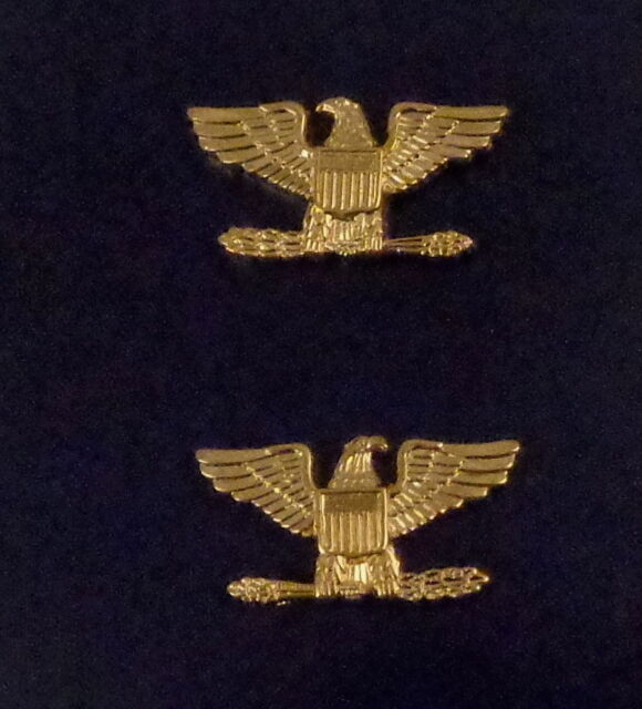 Col Colonel Eagle Birds Large Gold Pair Collar Pins Rank Insignia