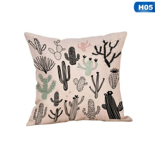 Africa Tropical Plant Printed Cushion Cover Green Leaves Linen Pillow Case UK