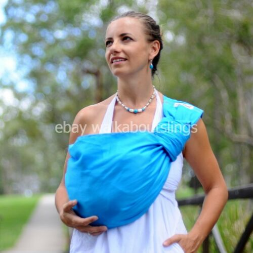 Walkabout Baby Ring Sling Carrier Pouch Wrap Cotton Sky Blue 5 in 1 New RRP$59