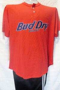 BUD-DRY-DRAFT-t-shirt-XL-BEER-red-USA-short-sleeve-sleeved-tee