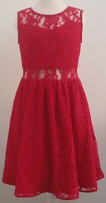 Girls teens red lace party prom  sleeveless knee length dress age 9-16 years
