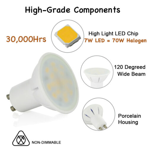 4 8 //10 x 7W GU10 LED Bulb spotlight Lamps Warm White 120° Wide Beam =70W A+