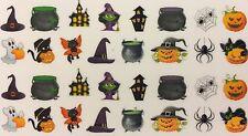 Nail Art Water Decals Halloween Scary Witch Hat Ghost Spider Black Cat Pumpkin