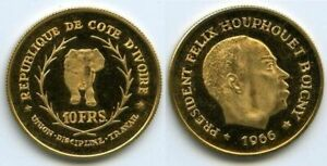 Ivory Coast (Côte d'Ivoire) 10 Francs 1966 Gold 3.2g Félix Houphouët-Boigny KM2