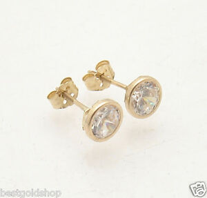 Image Is Loading 6mm Bezel Set Clear Diamonique Cz Stud Earrings