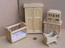 1:12th Scale 5 Piece Pine Nursery Set Dolls House Miniature Bedroom 3086