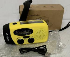 NEW! Emergency Solar Hand Crank AM/FM/WB Radio LED Flashlight USB Charger 3 in 1