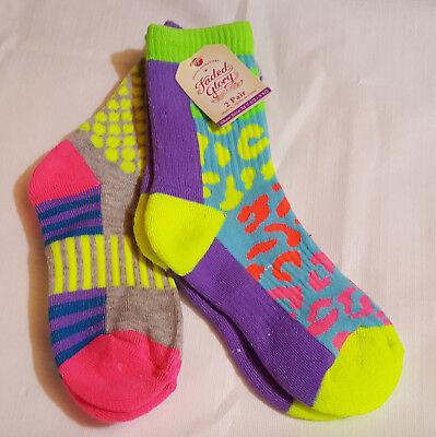 Girls Set of 2 Crew Or Knee High Paint Splatter Socks-Sock Size-M 7.5--3.5