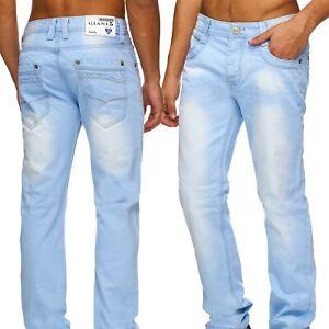 Herren-Jeans-Hose-hellblau-bleached-Qualitaet-Slim-Fit-Gerades-Bein-W29-W38-Neu