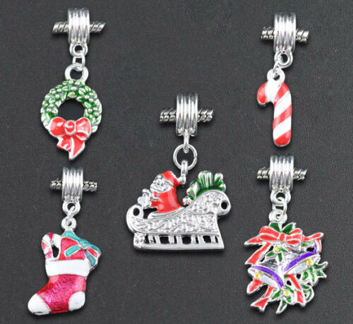 10 Mixte Noël Dangle Beads Fit Charm Bracelet cadeau