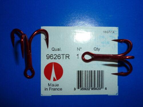 25 très état neuf 4X Oshaughnessy Treble Crochets-Taille 1-Tin rouge 9626TR-Bulk 9626