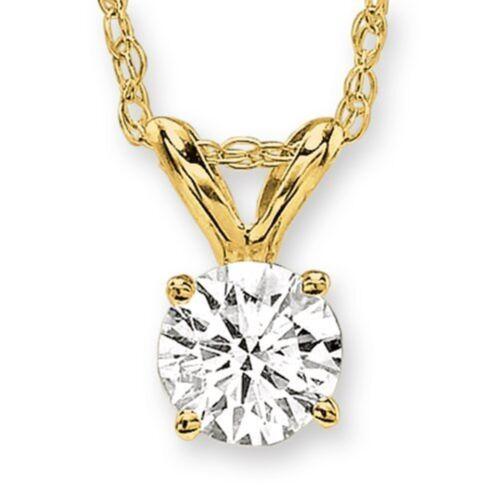 Round Solitaire Diamond Pendant Plus Yellow Gold 0.04ct, HIJ color, I3 clarity