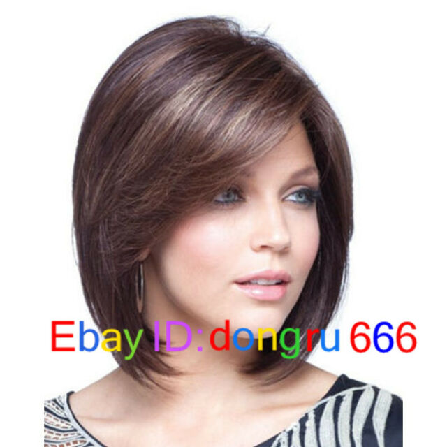 New Sexy Ladies Short Brown Mixed Straight Natural Hair wigs/wig + Free Wig cap