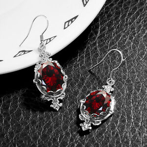 Image Is Loading Vintage January Birthstone Earrings 925 Sterling Silver Red