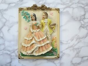 Victorian Couple Chalkware Wall Hanging Plaque Ceramic Vintage Shabby Chic 3D
